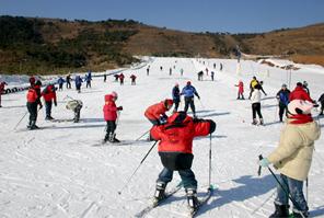 天然地下画廊山地滑雪运动场位于山东最南部,占地百余亩,为国内唯一的综合式滑雪、滑草场地。滑雪初级道、中级道、雪圈专用道总长1600米。配套设施齐全。